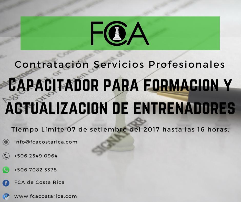 Contratación de servicios profesionales de una persona física para impartir capacitaciones para la formación y actualización de entrenadores en todo el país para la Federación Central de Ajedrez de Costa Rica