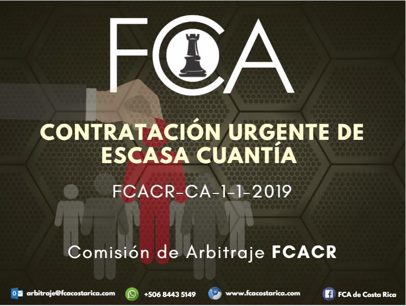 Contratación Urgente de Escasa Cuantía FCACR-CA-1-1-2019