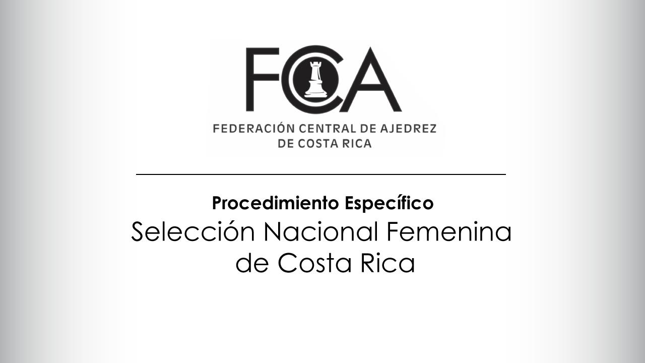 Procedimiento Específico  Selección Nacional Femenina de Costa Rica