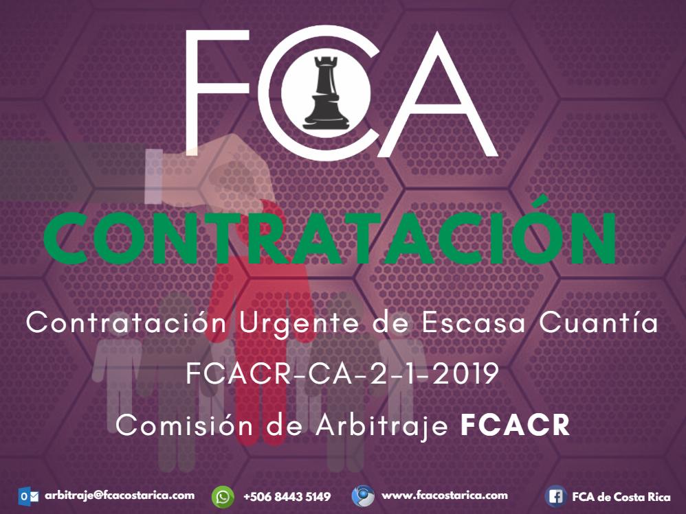 Contratación Urgente de Escasa Cuantía FCACR-CA-2-1-2019