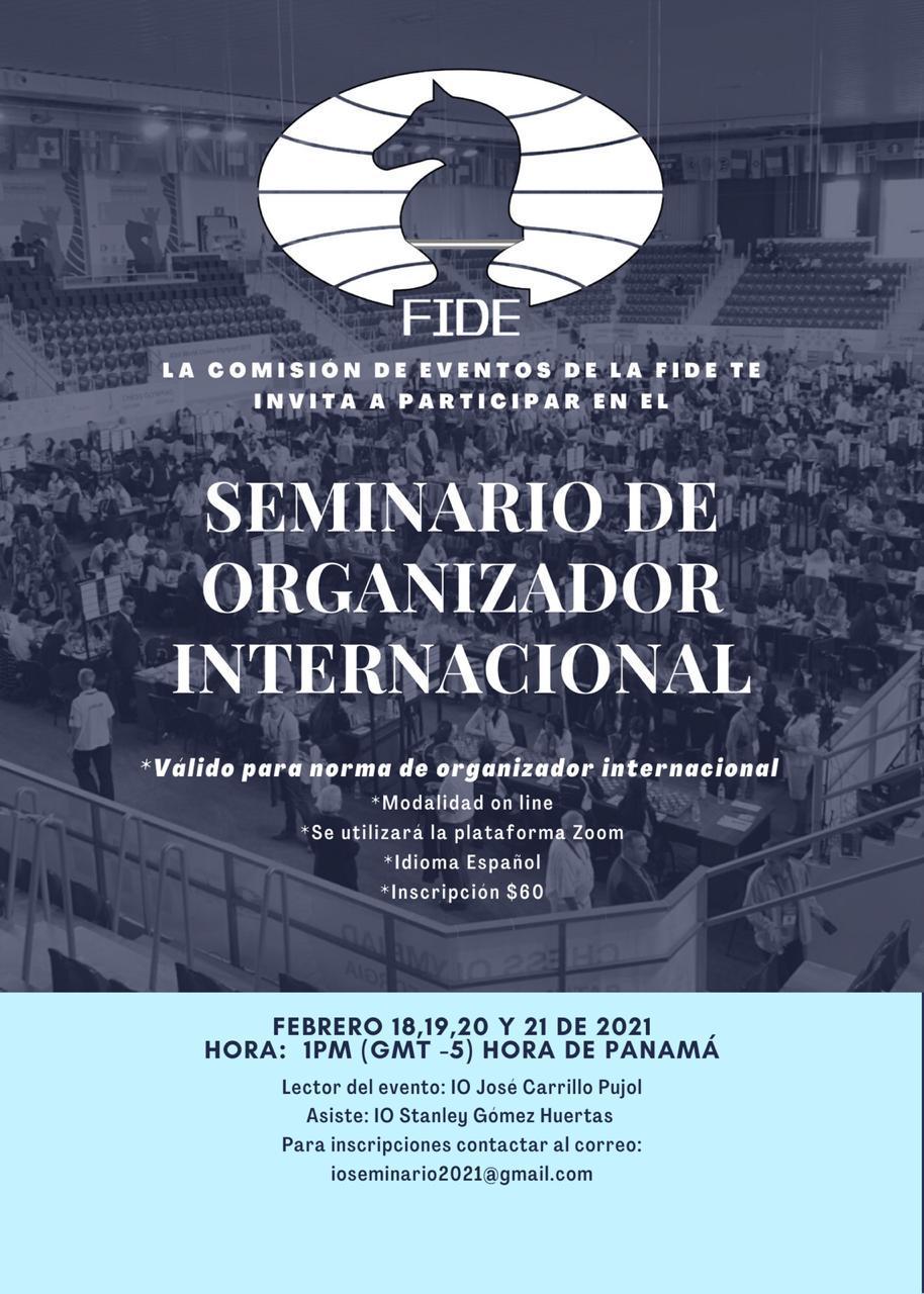 FIDE EXTIENDE INVITACIÓN AL SEMINARIO ONLINE PARA ORGANIZADOR INTERNACIONAL